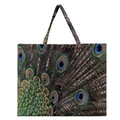 Close Up Of Peacock Feathers Zipper Large Tote Bag