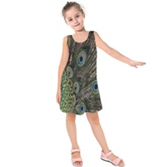 Close Up Of Peacock Feathers Kids  Sleeveless Dress