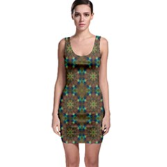 Seamless Abstract Peacock Feathers Abstract Pattern Sleeveless Bodycon Dress