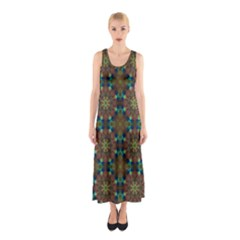 Seamless Abstract Peacock Feathers Abstract Pattern Sleeveless Maxi Dress