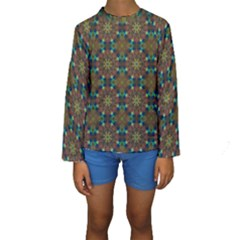 Seamless Abstract Peacock Feathers Abstract Pattern Kids  Long Sleeve Swimwear