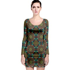 Seamless Abstract Peacock Feathers Abstract Pattern Long Sleeve Bodycon Dress