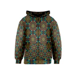 Seamless Abstract Peacock Feathers Abstract Pattern Kids  Zipper Hoodie