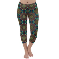 Seamless Abstract Peacock Feathers Abstract Pattern Capri Winter Leggings