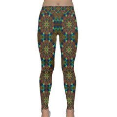 Seamless Abstract Peacock Feathers Abstract Pattern Classic Yoga Leggings