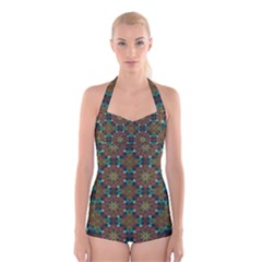 Seamless Abstract Peacock Feathers Abstract Pattern Boyleg Halter Swimsuit