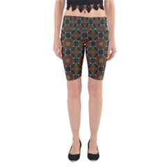 Seamless Abstract Peacock Feathers Abstract Pattern Yoga Cropped Leggings