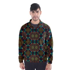 Seamless Abstract Peacock Feathers Abstract Pattern Wind Breaker (men)