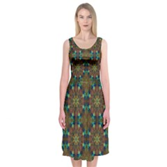 Seamless Abstract Peacock Feathers Abstract Pattern Midi Sleeveless Dress