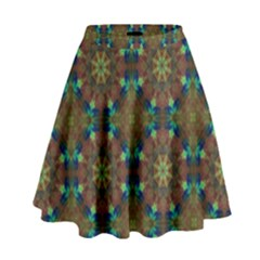 Seamless Abstract Peacock Feathers Abstract Pattern High Waist Skirt by Nexatart