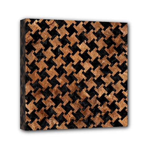 Houndstooth2 Black Marble & Brown Stone Mini Canvas 6  X 6  (stretched) by trendistuff
