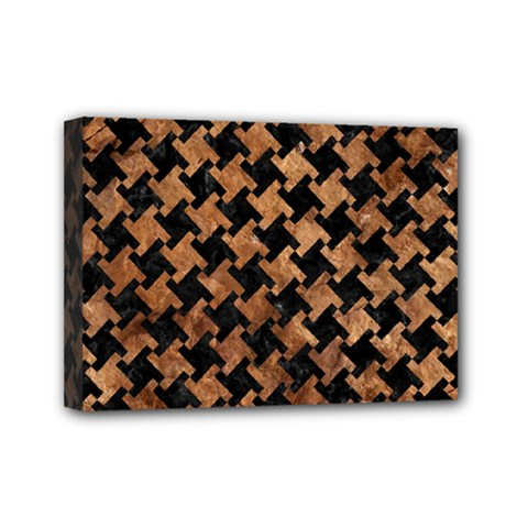 Houndstooth2 Black Marble & Brown Stone Mini Canvas 7  X 5  (stretched) by trendistuff