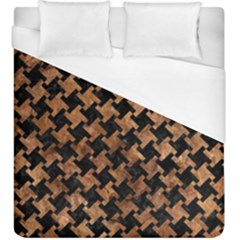 Houndstooth2 Black Marble & Brown Stone Duvet Cover (king Size) by trendistuff