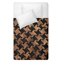 Houndstooth2 Black Marble & Brown Stone Duvet Cover Double Side (single Size) by trendistuff