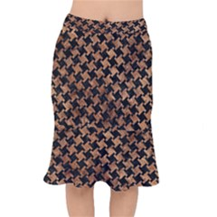 Houndstooth2 Black Marble & Brown Stone Short Mermaid Skirt by trendistuff