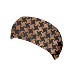 Houndstooth2 Black Marble & Brown Stone Yoga Headband by trendistuff