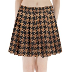 Houndstooth1 Black Marble & Brown Stone Pleated Mini Skirt