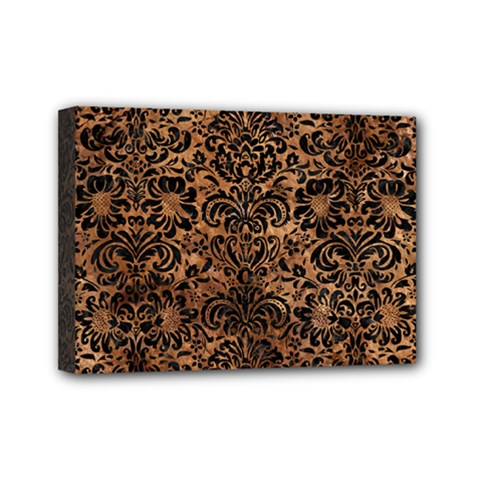 Damask2 Black Marble & Brown Stone (r) Mini Canvas 7  X 5  (stretched) by trendistuff