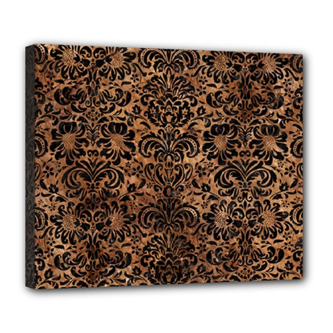 Damask2 Black Marble & Brown Stone (r) Deluxe Canvas 24  X 20  (stretched) by trendistuff