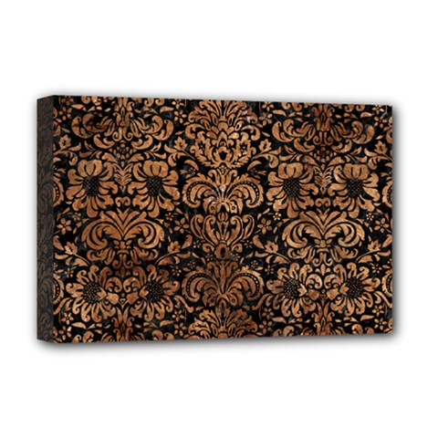Damask2 Black Marble & Brown Stone Deluxe Canvas 18  X 12  (stretched) by trendistuff