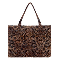 Damask2 Black Marble & Brown Stone Medium Tote Bag by trendistuff