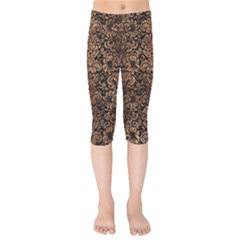 Damask2 Black Marble & Brown Stone Kids  Capri Leggings