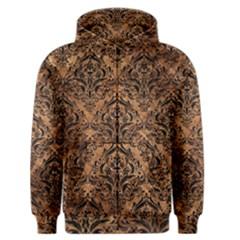 Damask1 Black Marble & Brown Stone (r) Men s Zipper Hoodie by trendistuff