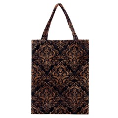 Damask1 Black Marble & Brown Stone Classic Tote Bag by trendistuff