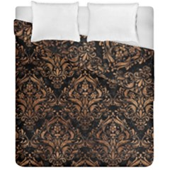 Damask1 Black Marble & Brown Stone Duvet Cover Double Side (california King Size) by trendistuff