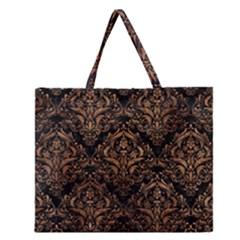 Damask1 Black Marble & Brown Stone Zipper Large Tote Bag by trendistuff