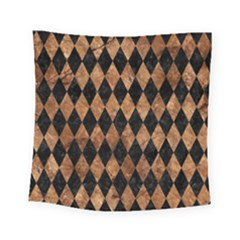 Diamond1 Black Marble & Brown Stone Square Tapestry (small) by trendistuff