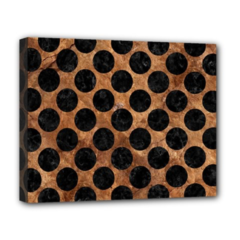 Circles2 Black Marble & Brown Stone (r) Deluxe Canvas 20  X 16  (stretched) by trendistuff