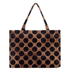 Circles2 Black Marble & Brown Stone (r) Medium Tote Bag by trendistuff