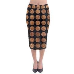 Circles1 Black Marble & Brown Stone Midi Pencil Skirt by trendistuff
