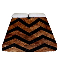 Chevron9 Black Marble & Brown Stone (r) Fitted Sheet (king Size) by trendistuff