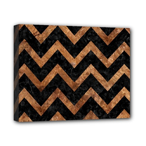 Chevron9 Black Marble & Brown Stone Canvas 10  X 8  (stretched) by trendistuff