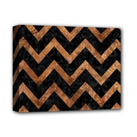 Chevron9 Black Marble & Brown Stone Deluxe Canvas 14  X 11  (stretched) by trendistuff