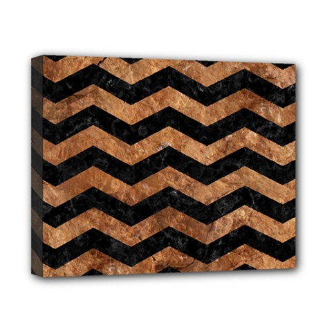Chevron3 Black Marble & Brown Stone Canvas 10  X 8  (stretched) by trendistuff