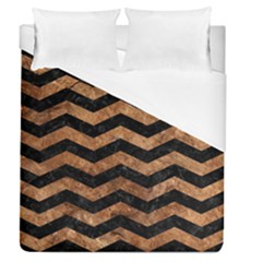 Chevron3 Black Marble & Brown Stone Duvet Cover (queen Size) by trendistuff
