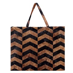 Chevron2 Black Marble & Brown Stone Zipper Large Tote Bag by trendistuff