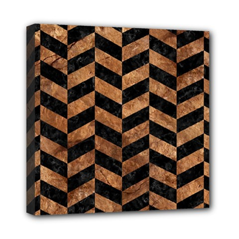 Chevron1 Black Marble & Brown Stone Mini Canvas 8  X 8  (stretched) by trendistuff
