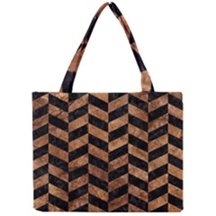 Chevron1 Black Marble & Brown Stone Mini Tote Bag by trendistuff