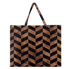 Chevron1 Black Marble & Brown Stone Zipper Large Tote Bag by trendistuff