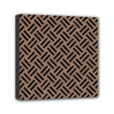 Woven2 Black Marble & Brown Colored Pencil (r) Mini Canvas 6  X 6  (stretched) by trendistuff