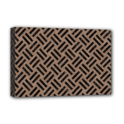 Woven2 Black Marble & Brown Colored Pencil (r) Deluxe Canvas 18  X 12  (stretched) by trendistuff