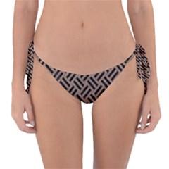Woven2 Black Marble & Brown Colored Pencil (r) Reversible Bikini Bottom
