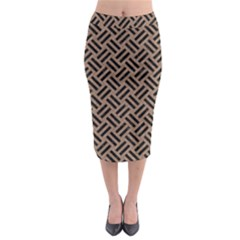Woven2 Black Marble & Brown Colored Pencil (r) Midi Pencil Skirt by trendistuff