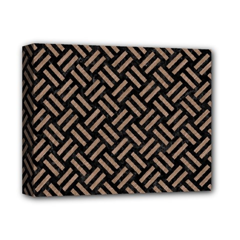 Woven2 Black Marble & Brown Colored Pencil Deluxe Canvas 14  X 11  (stretched) by trendistuff