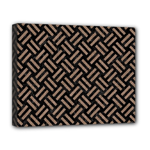 Woven2 Black Marble & Brown Colored Pencil Deluxe Canvas 20  X 16  (stretched) by trendistuff