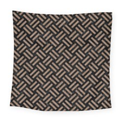 Woven2 Black Marble & Brown Colored Pencil Square Tapestry (large)